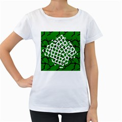 Abstract Clutter Women s Loose Fit T Shirt (white)