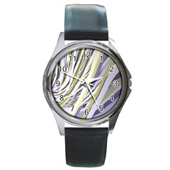 Wavy Ribbons Background Wallpaper Round Metal Watch