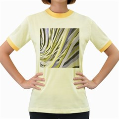 Wavy Ribbons Background Wallpaper Women s Fitted Ringer T Shirts