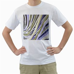Wavy Ribbons Background Wallpaper Men s T Shirt (white) (two Sided)