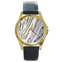 Wavy Ribbons Background Wallpaper Round Gold Metal Watch