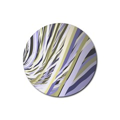 Wavy Ribbons Background Wallpaper Rubber Round Coaster (4 pack)