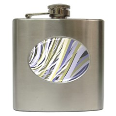 Wavy Ribbons Background Wallpaper Hip Flask (6 Oz)