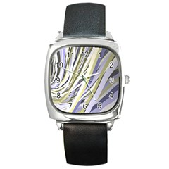 Wavy Ribbons Background Wallpaper Square Metal Watch
