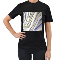 Wavy Ribbons Background Wallpaper Women s T Shirt (black) (two Sided)