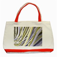 Wavy Ribbons Background Wallpaper Classic Tote Bag (red)