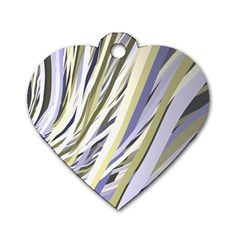 Wavy Ribbons Background Wallpaper Dog Tag Heart (two Sides)