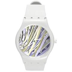 Wavy Ribbons Background Wallpaper Round Plastic Sport Watch (m)
