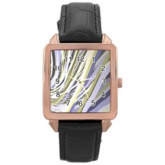 Wavy Ribbons Background Wallpaper Rose Gold Leather Watch