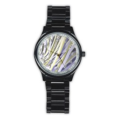 Wavy Ribbons Background Wallpaper Stainless Steel Round Watch
