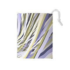 Wavy Ribbons Background Wallpaper Drawstring Pouches (Medium)