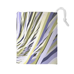 Wavy Ribbons Background Wallpaper Drawstring Pouches (Large)