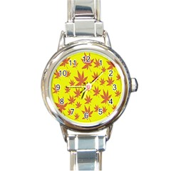 Autumn Background Round Italian Charm Watch