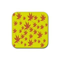 Autumn Background Rubber Square Coaster (4 pack)