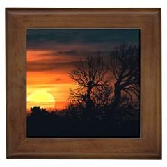 Sunset At Nature Landscape Framed Tiles