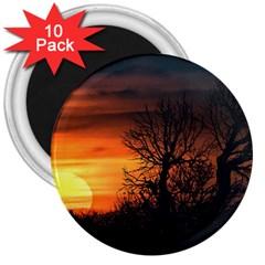 Sunset At Nature Landscape 3  Magnets (10 pack)