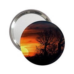 Sunset At Nature Landscape 2.25  Handbag Mirrors