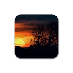 Sunset At Nature Landscape Rubber Square Coaster (4 pack)