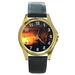 Sunset At Nature Landscape Round Gold Metal Watch