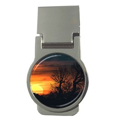 Sunset At Nature Landscape Money Clips (Round)
