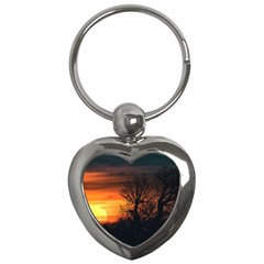 Sunset At Nature Landscape Key Chains (Heart)