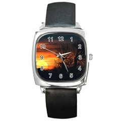 Sunset At Nature Landscape Square Metal Watch