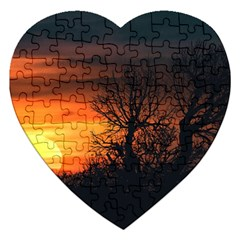 Sunset At Nature Landscape Jigsaw Puzzle (Heart)
