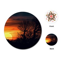 Sunset At Nature Landscape Playing Cards (Round)