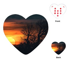 Sunset At Nature Landscape Playing Cards (Heart)