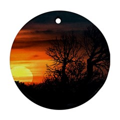 Sunset At Nature Landscape Round Ornament (Two Sides)