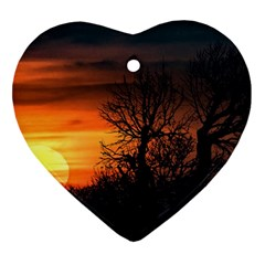 Sunset At Nature Landscape Heart Ornament (Two Sides)
