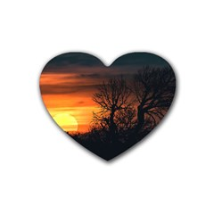 Sunset At Nature Landscape Heart Coaster (4 pack)