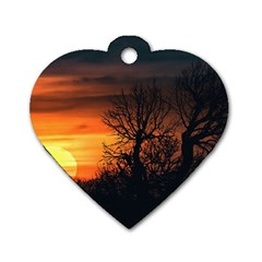 Sunset At Nature Landscape Dog Tag Heart (Two Sides)