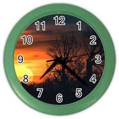 Sunset At Nature Landscape Color Wall Clocks