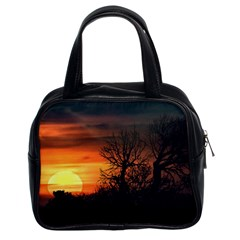 Sunset At Nature Landscape Classic Handbags (2 Sides)