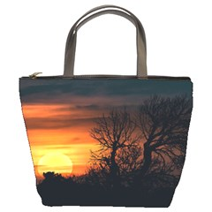 Sunset At Nature Landscape Bucket Bags