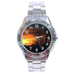 Sunset At Nature Landscape Stainless Steel Analogue Watch