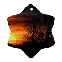 Sunset At Nature Landscape Snowflake Ornament (Two Sides)
