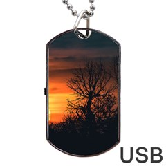 Sunset At Nature Landscape Dog Tag USB Flash (Two Sides)