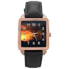 Sunset At Nature Landscape Rose Gold Leather Watch