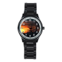 Sunset At Nature Landscape Stainless Steel Round Watch
