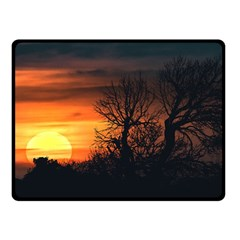 Sunset At Nature Landscape Double Sided Fleece Blanket (Small)