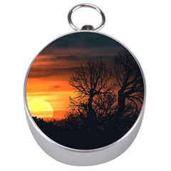 Sunset At Nature Landscape Silver Compasses