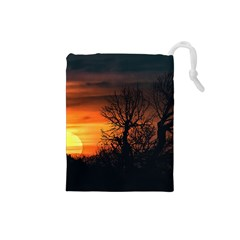 Sunset At Nature Landscape Drawstring Pouches (Small)