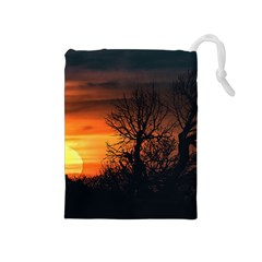 Sunset At Nature Landscape Drawstring Pouches (Medium)