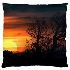 Sunset At Nature Landscape Large Flano Cushion Case (Two Sides)