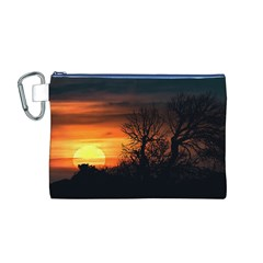 Sunset At Nature Landscape Canvas Cosmetic Bag (M)