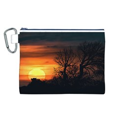 Sunset At Nature Landscape Canvas Cosmetic Bag (L)