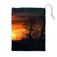 Sunset At Nature Landscape Drawstring Pouches (Extra Large)