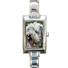Bearded Collie Rectangle Italian Charm Watch
